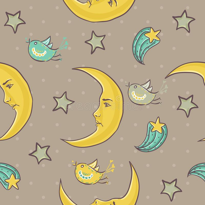 Download Moon And Stars Seamless Pattern Stock Vector - Image: 24542866