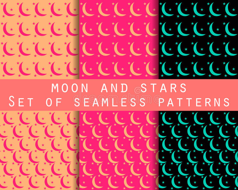 Moon and stars. Set seamless patterns The pattern for wallpaper, bed linen, tiles, fabrics, backgrounds. Vector illustration royalty free illustration
