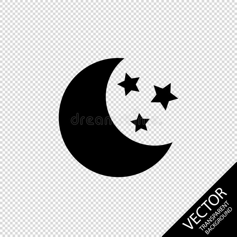 Moon And Stars Silhouettes - Vector Illustration - Isolated On Transparent Blackground stock illustration