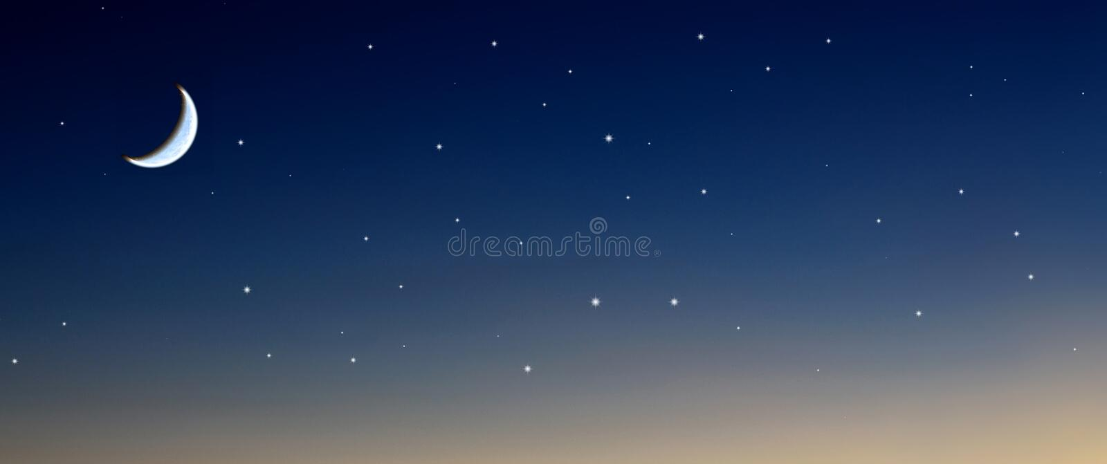 Moon stars sky. Moon rises together with stars royalty free stock photography