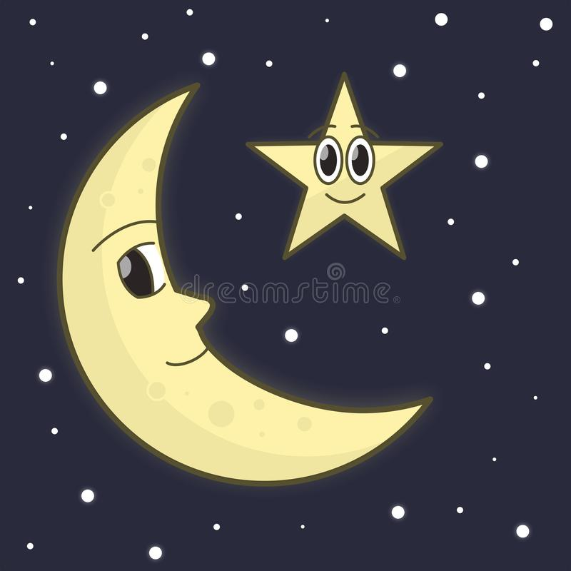 The moon & stars smile together. royalty free illustration