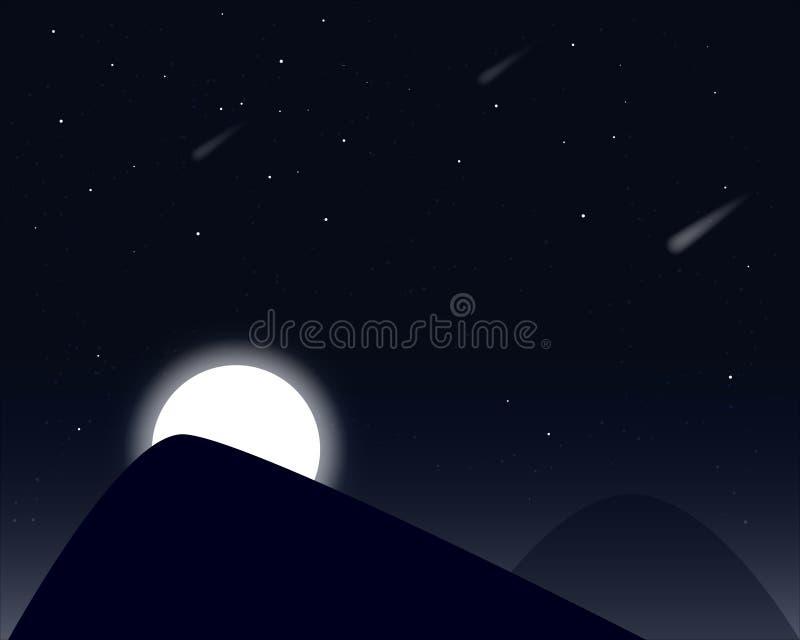 moon stj?rnor royaltyfri illustrationer