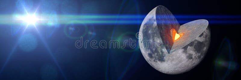Moon structure 3d illustration banner royalty free illustration