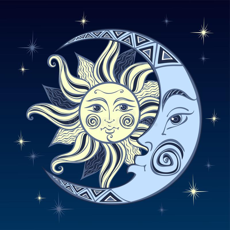 The moon and the sun. Ancient astrological symbol. Engraving. Boho Style. Ethnic. The symbol of the zodiac. Mystical. Vector royalty free illustration