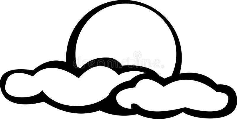 Moon Or Sun With Clouds Vector Illustration Stock Vector ... (800 x 402 Pixel)