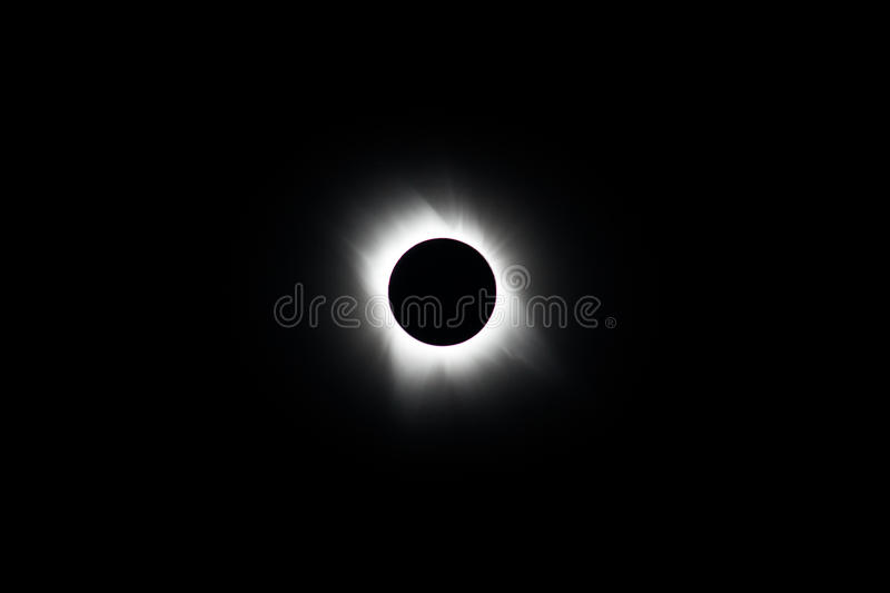 Moon and Sun During Total Solar Eclipse stock images