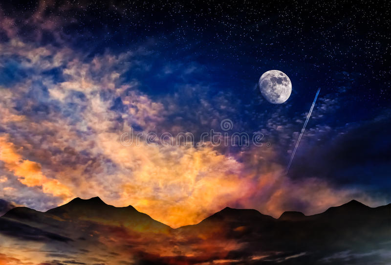 Moon sunrise clouds stock photography