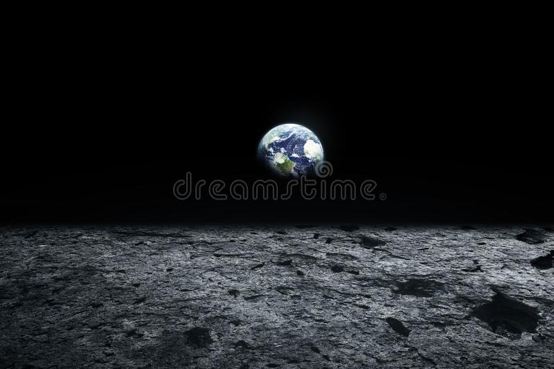 Moon surface and Earth on the horizon. Space art fantasy. Black. And white. Elements of this image furnished by NASA royalty free stock images