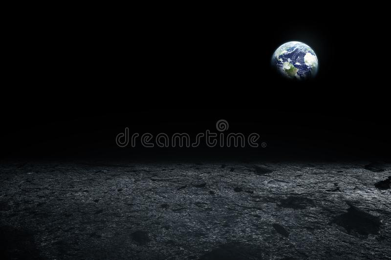 Moon surface and Earth on the horizon. Space art fantasy. Black. And white. Elements of this image furnished by NASA stock photography