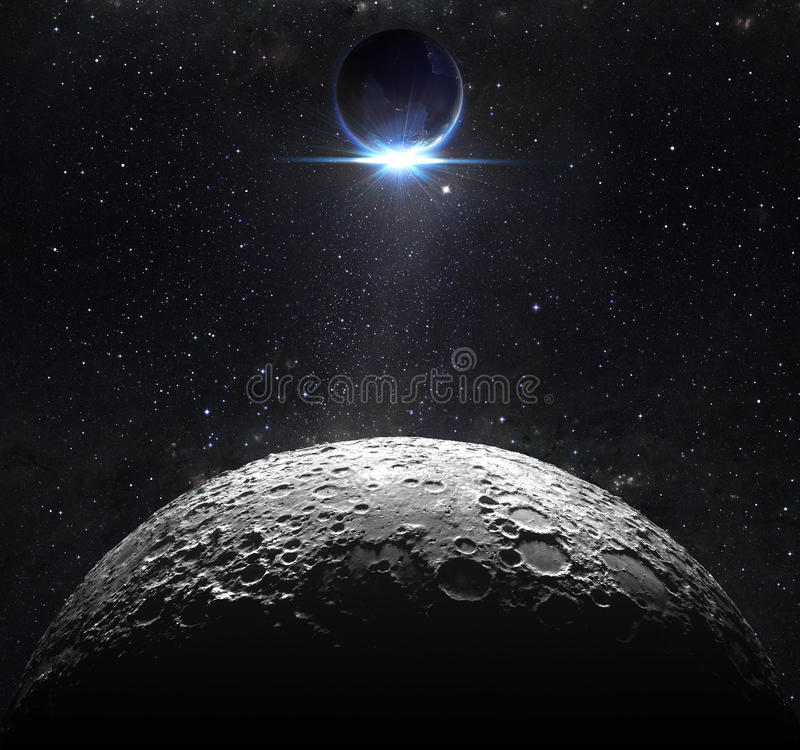 Moon surface with view sunrise of the earth royalty free stock images