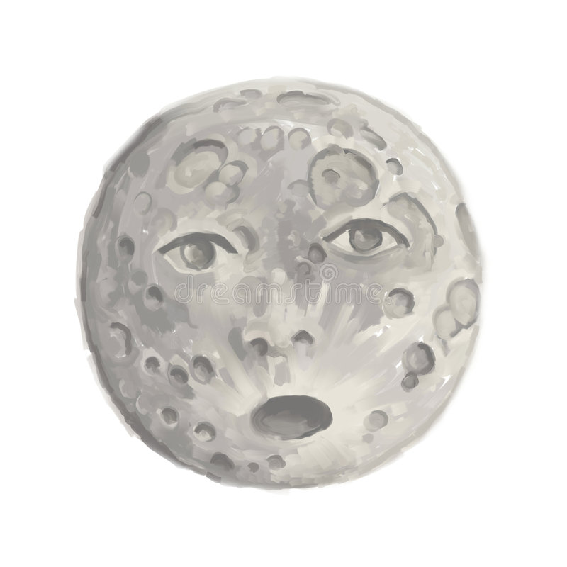 Moon surprise. Full moon surprise, digital painting royalty free illustration