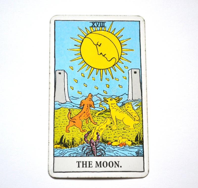 The Moon Tarot Card Dreams, nightmares, illusion, hidden things stock illustration