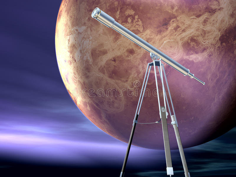 Moon and telescope. A view of the moon and a telescope stock illustration
