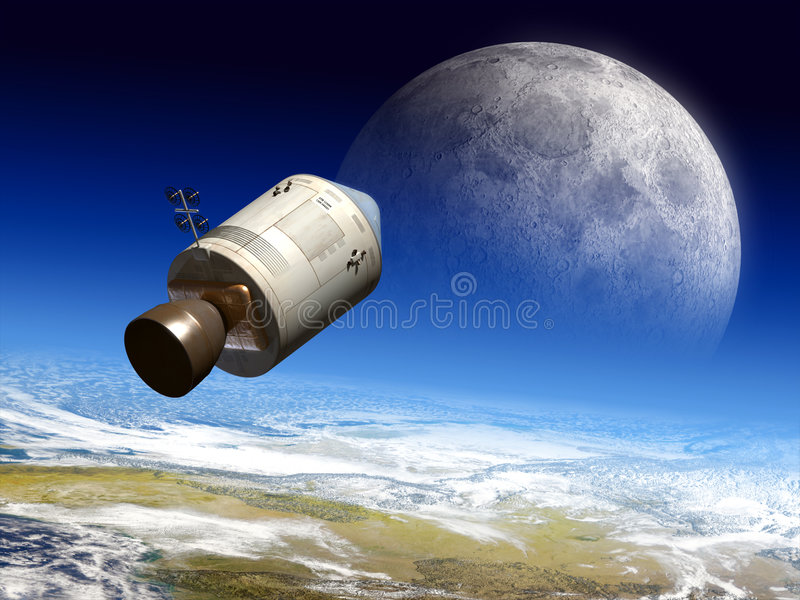 Moon travel. Apollo module flying to the moon. Digital illustration