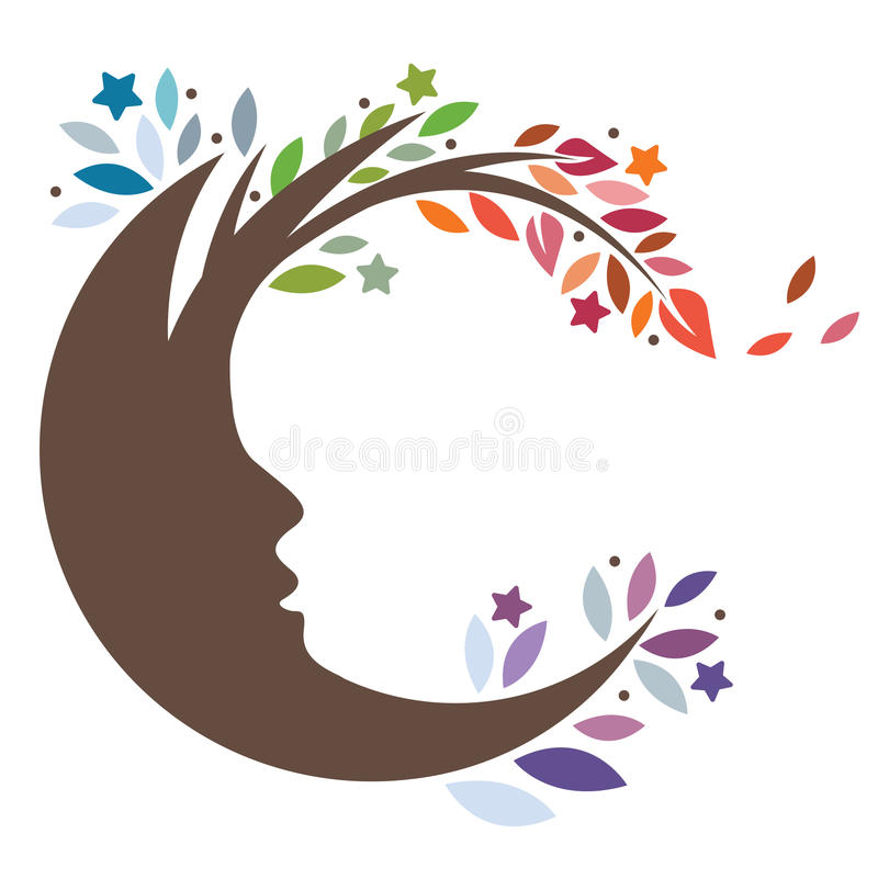 Moon Tree. Stylized silhouette of a man in the moon that's transformed into a natural leafy tree royalty free illustration