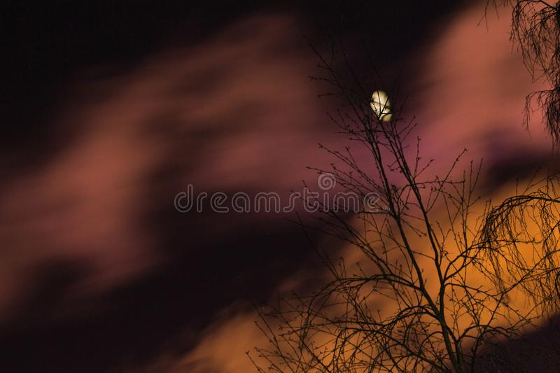 Moon and clouds royalty free stock images