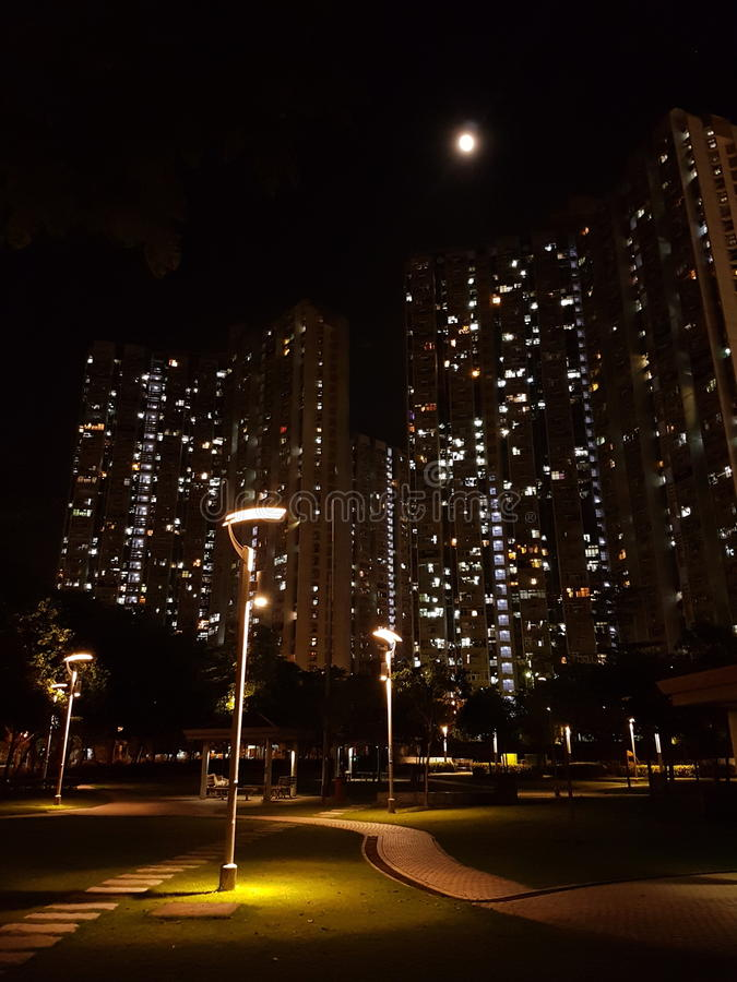 Moon in Tsing Yi. Cheung On Hong Kong at night royalty free stock photo