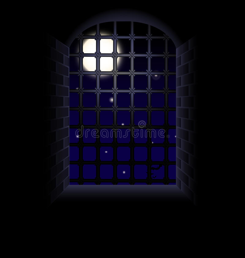 Moon in the tunnel. Nightly sky, moon, stone tunnel, window and large lattice, illuminated from the outside vector illustration