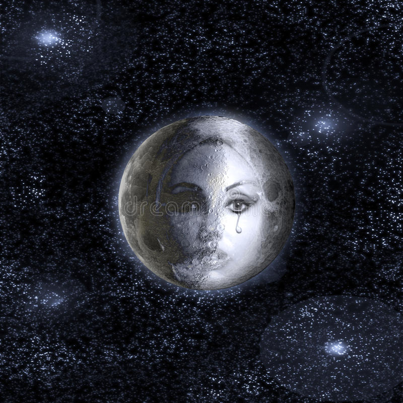 The moon turns into a face of the beautiful woman in the night sky. royalty free stock photos