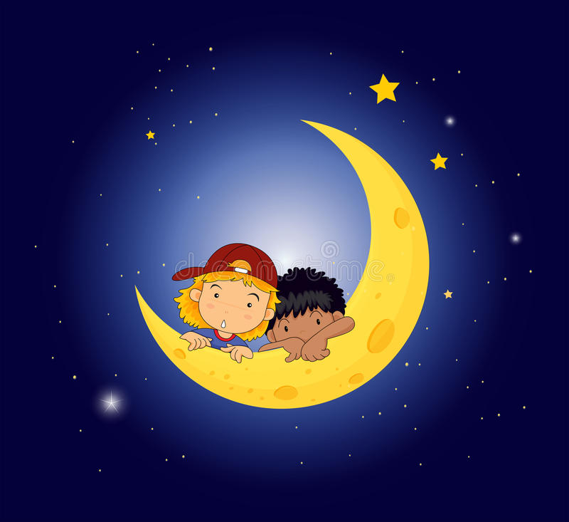 A Moon With Two Kids Stock Image