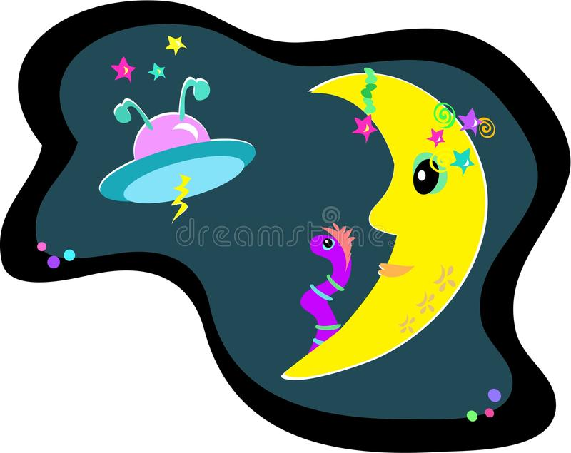 Download Moon, UFO, and Alien Worm stock vector. Image of tattoo - 12527251