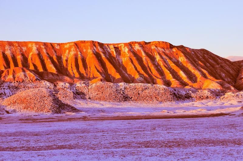 Moon valley in Atacama desert at sunset time,. Chile stock image