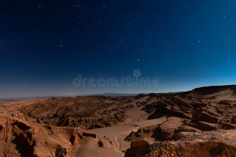 Moon Valley with the stars night. Ubicated in atacama desert in Chile stock images