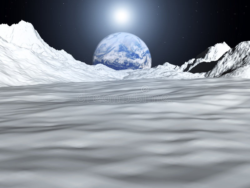 Moon View 28. An image of the earth from a view from the lunar mountain landscape. With added sun effect stock illustration