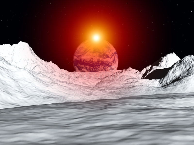 Moon View 29. An image of the earth from a view from the lunar mountain landscape. With added sun effect stock illustration
