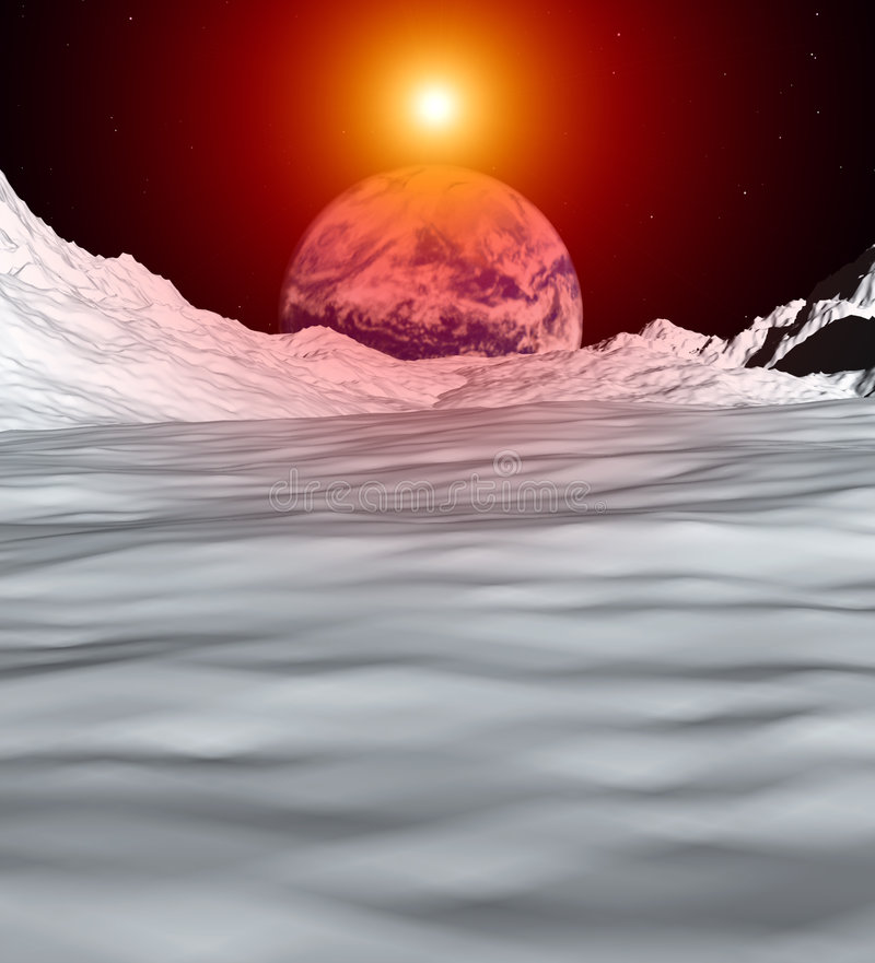 Moon View 5. An image of the earth from a view from the lunar mountain landscape. With added sun effect vector illustration