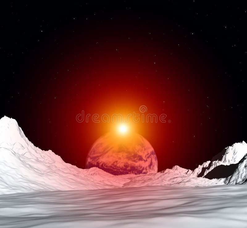 Moon View 5. An image of the earth from a view from the lunar mountain landscape. With added sun effect stock illustration
