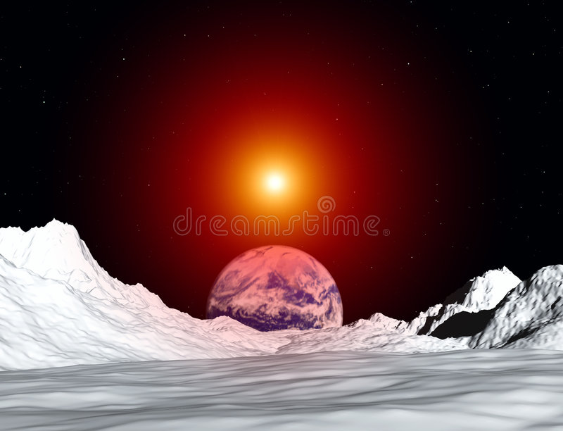 Moon View 50. An image of the earth from a view from the lunar mountain landscape. With added sun effect stock illustration