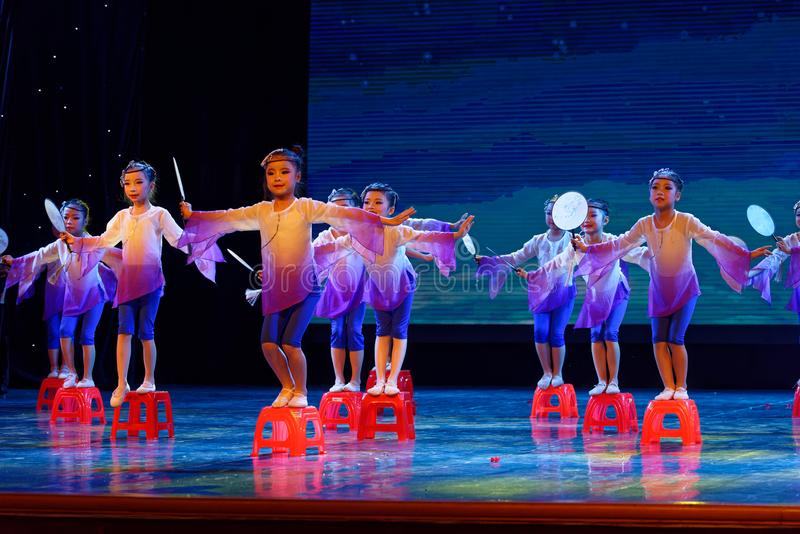 The moon is whispering- Beijing Dance Academy grading test outstanding children`s dance teaching achievement exhibition Jiangxi. Sponsored by the Beijing Dance royalty free stock photos