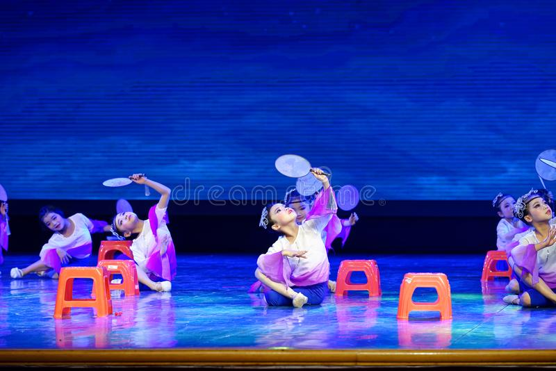 The moon is whispering- Beijing Dance Academy grading test outstanding children`s dance teaching achievement exhibition Jiangxi. Sponsored by the Beijing Dance royalty free stock photography
