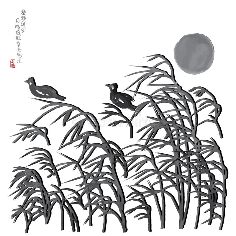 Moon wind grasses bird image royalty free illustration