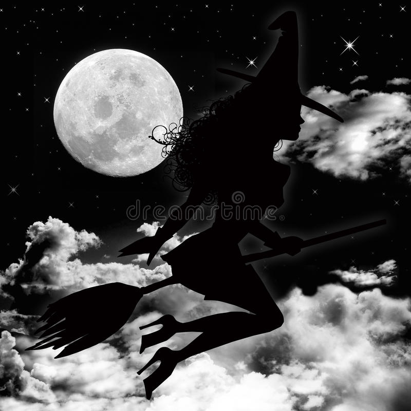 Moon and witch stock illustration
