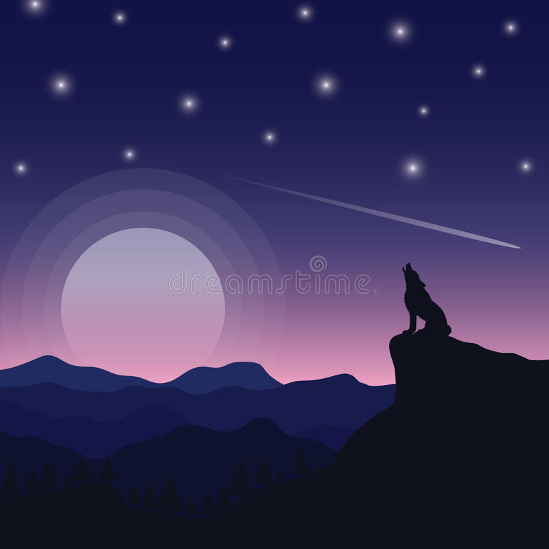 Moon and the wolf royalty free stock photo