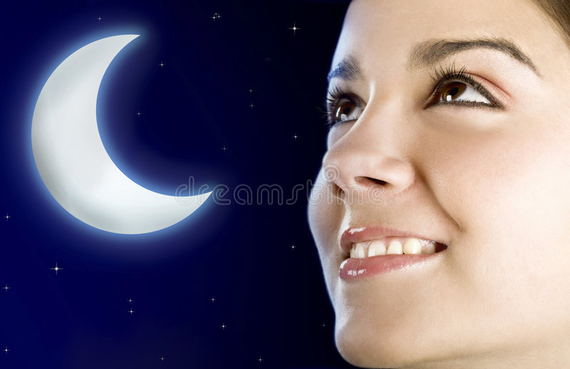 Moon woman royalty free stock images