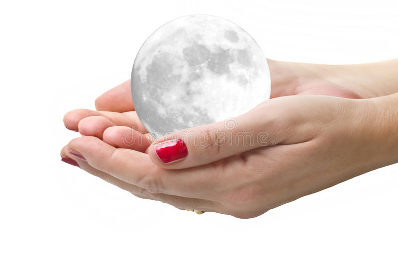 Moon in the woman hands royalty free stock image