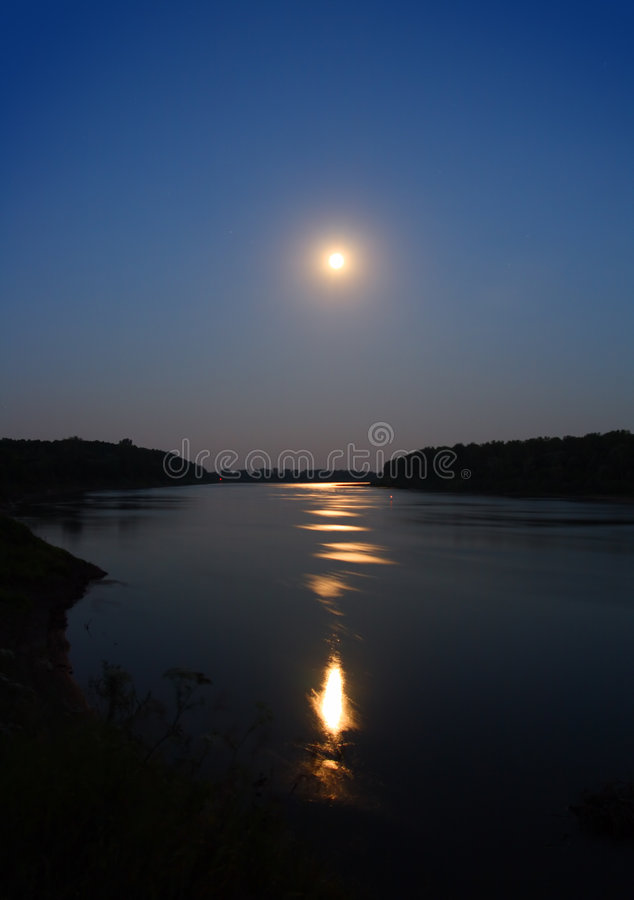 Moonbeam in river. Night moon and moonbeam in river stock image