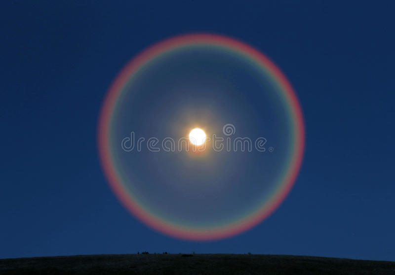 Moonbow. Colorful spectrum around the super moon, Uinta Mountains, Utah, USA royalty free stock images