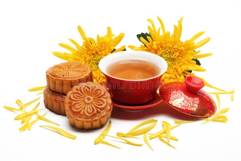 Mooncake και τσάι στοκ εικόνες με δικαίωμα ελεύθερης χρήσης