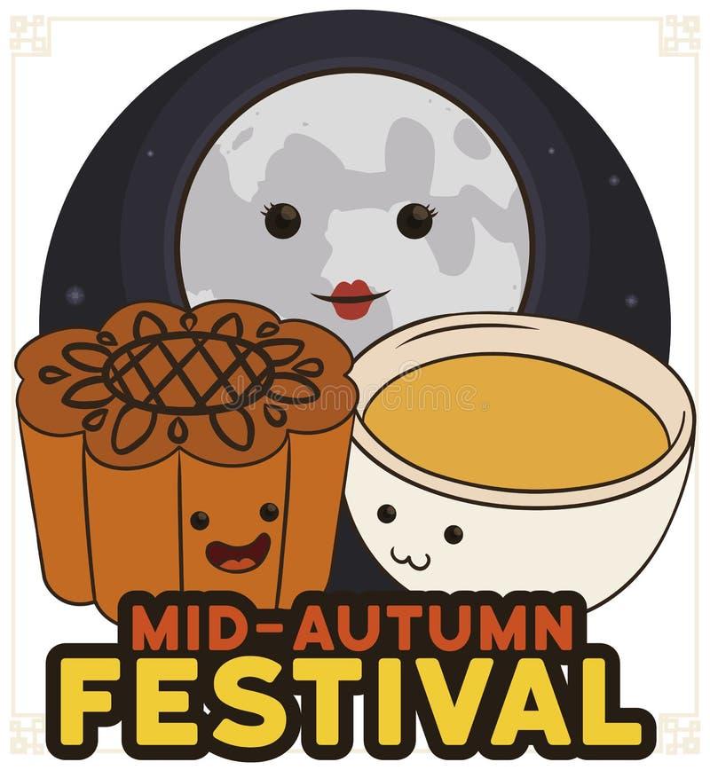 Mooncake, чашка и полнолуние празднуя китайский фестиваль Средний-осени, иллюстрацию вектора иллюстрация штока