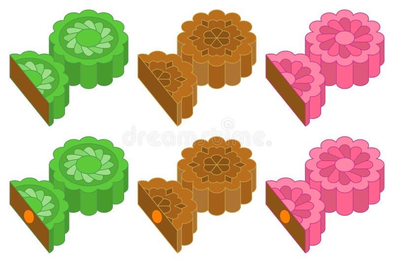 Mooncake chino para el mediados de festival del otoño en diversos gusto y sabor ilustración del vector