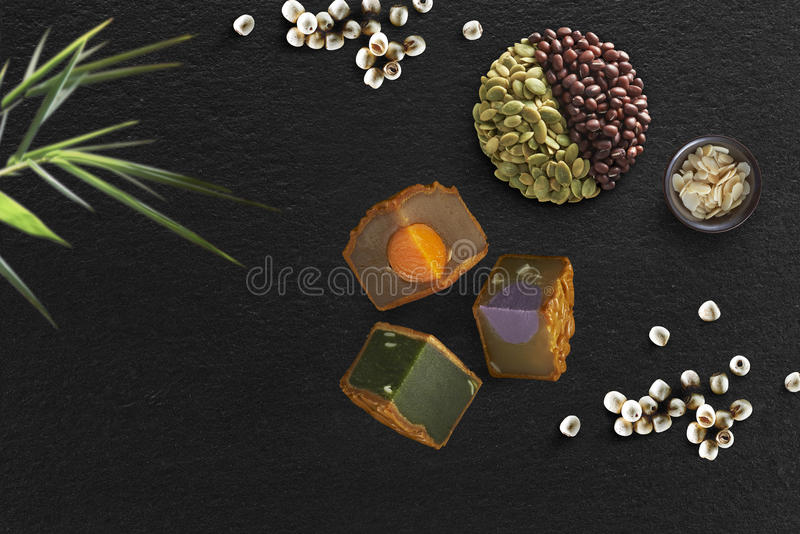 Mooncake Conceptual. Conceptual layout of Mooncake on black background royalty free stock photos