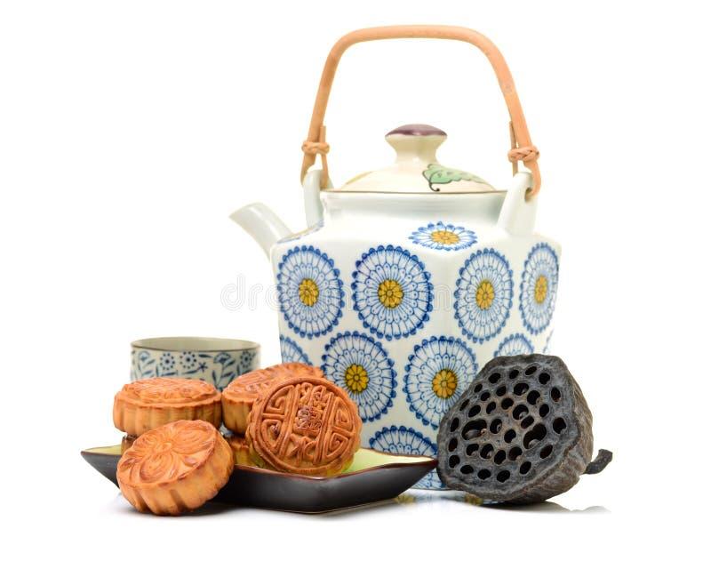 Mooncake en thee, het Chinese medio voedsel van het de herfstfestival royalty-vrije stock foto's
