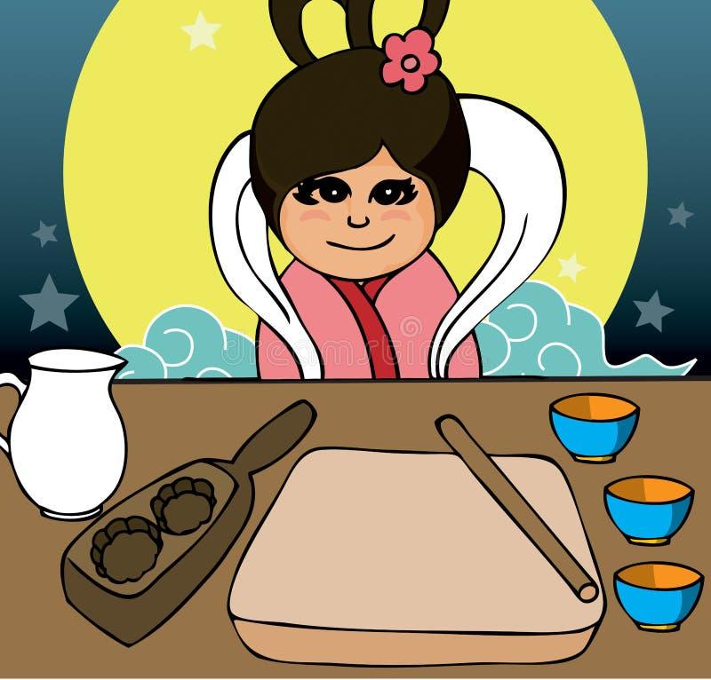 Mooncake festival elements. Chang er a girl in legend preparing mooncake royalty free illustration