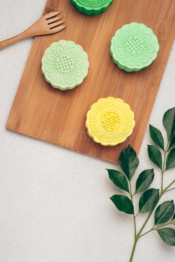 Mooncake and tea, Chinese mid autumn festival food. Angle view from above royalty free stock images