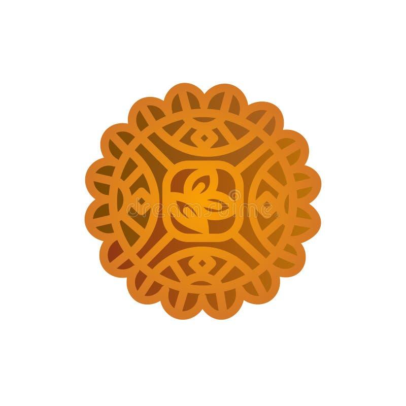 Mooncakeikonendesign Chinesisches Mittherbstfestsymbol mit abstrakter traditioneller Verzierung stock abbildung
