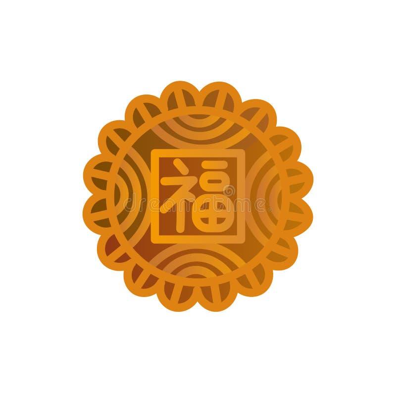 Mooncakeikonendesign Chinesisches Mittherbstfestsymbol mit einem Glück ` Bedeutung des chinesischen Schriftzeichens, Glück, Segen vektor abbildung